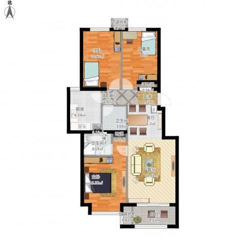 北京城建·海梓府3室1厅2卫1厨116.00㎡户型图