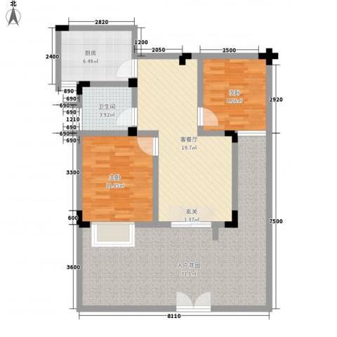 电控大厦2室1厅1卫1厨116.00㎡户型图