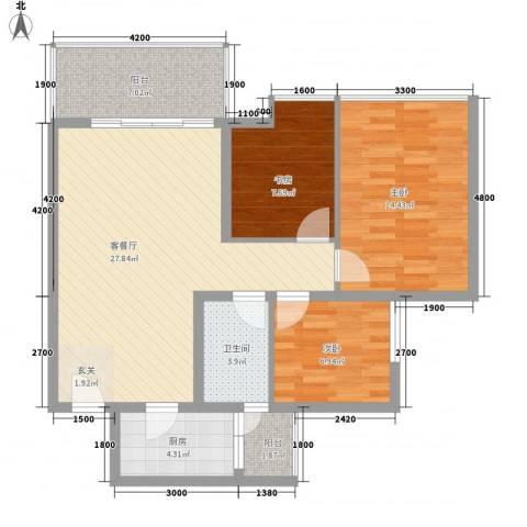 经协大厦3室1厅1卫1厨105.00㎡户型图