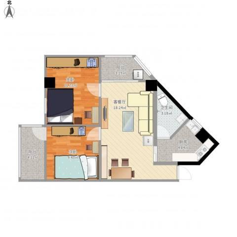 馨怡花苑2室1厅1卫1厨77.00㎡户型图