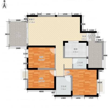 华润广场3室1厅2卫1厨150.00㎡户型图
