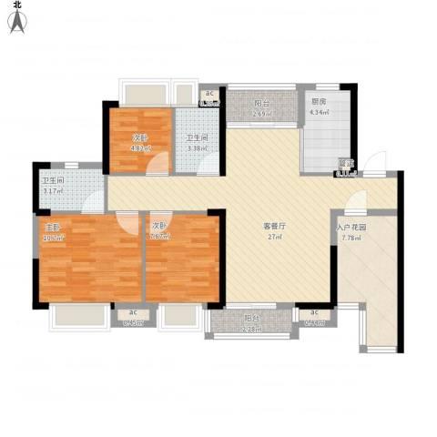 三正卧龙山一号3室1厅2卫1厨109.00㎡户型图