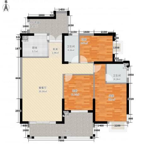 天湖大厦3室1厅2卫1厨153.00㎡户型图