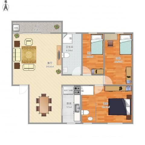 宁海花园3室1厅1卫1厨113.00㎡户型图