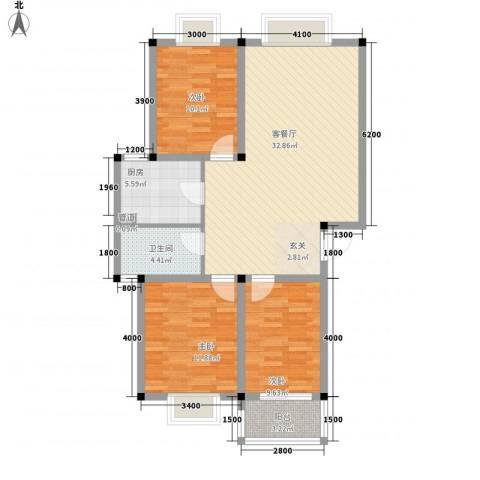 中浩森林湾3室1厅1卫1厨110.00㎡户型图
