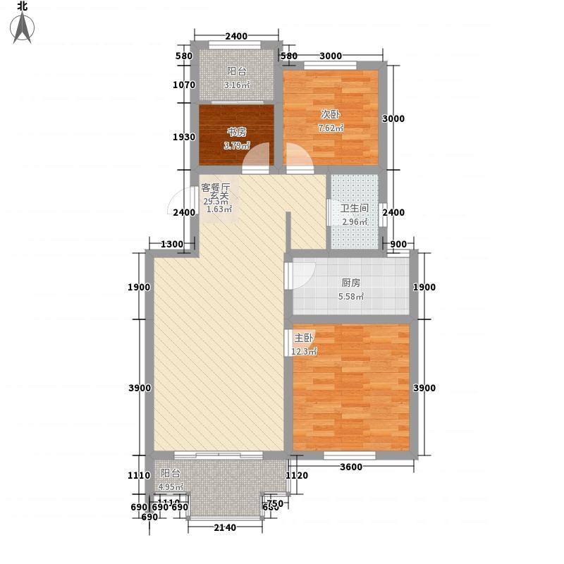 天一仁和郡6.00㎡10-12、35、37号楼D1户型2室2厅1卫1厨