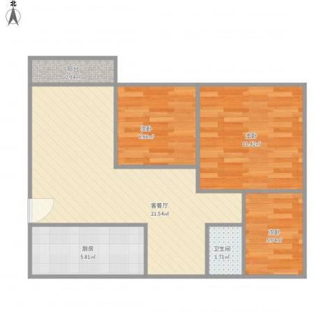 泰安花园3室1厅1卫1厨74.00㎡户型图
