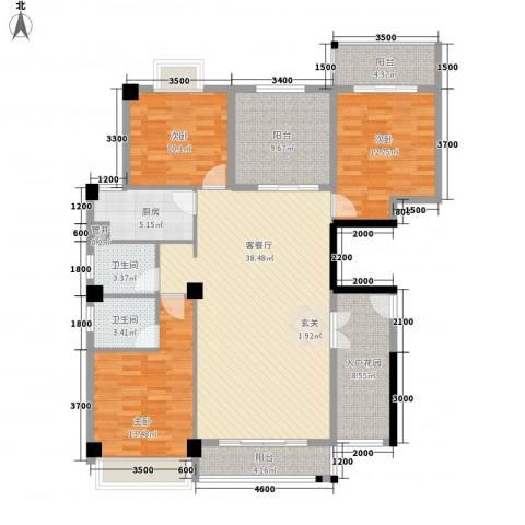 西城晶华3室1厅2卫1厨135.00㎡户型图