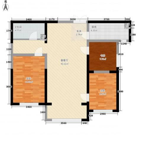博雅苑3室1厅1卫1厨122.00㎡户型图