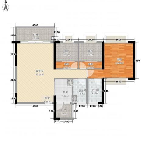 世嘉花园3室1厅2卫1厨123.00㎡户型图