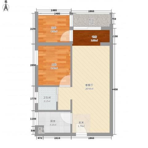 都市新巢2室1厅1卫1厨56.00㎡户型图
