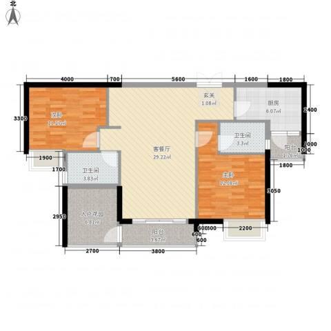 康汇花园2室1厅2卫1厨110.00㎡户型图