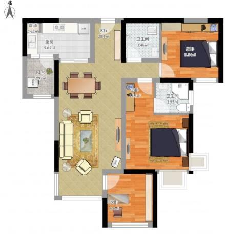 建发中央鹭洲3室1厅2卫1厨105.00㎡户型图