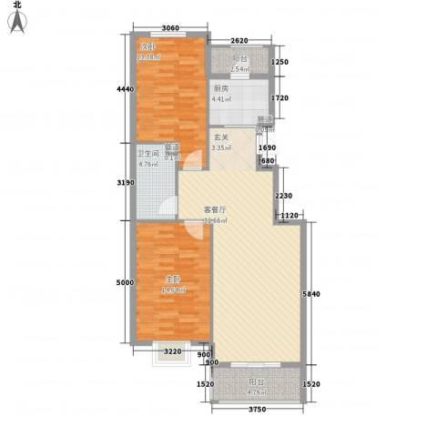 津港国际2室1厅1卫1厨76.33㎡户型图