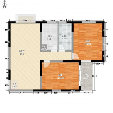 格林春天野花园2室1厅1卫1厨81.71㎡户型图