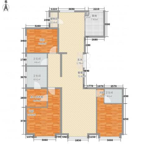 津澜阙3室1厅3卫1厨221.00㎡户型图