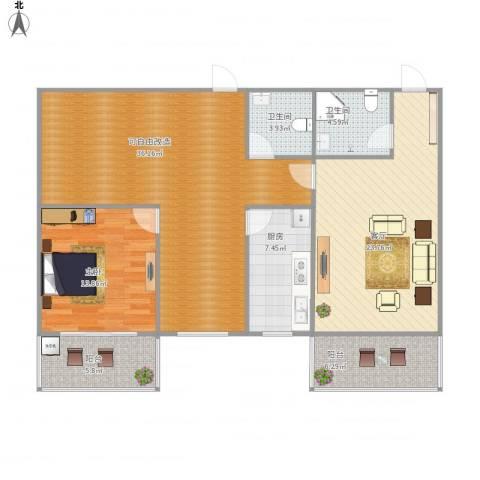 滨河花园1室1厅2卫1厨136.00㎡户型图