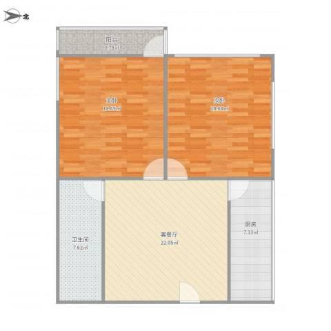 洪楼小区2室1厅1卫1厨104.00㎡户型图