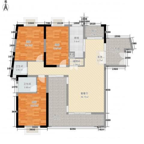 集美花园3室1厅2卫1厨121.34㎡户型图