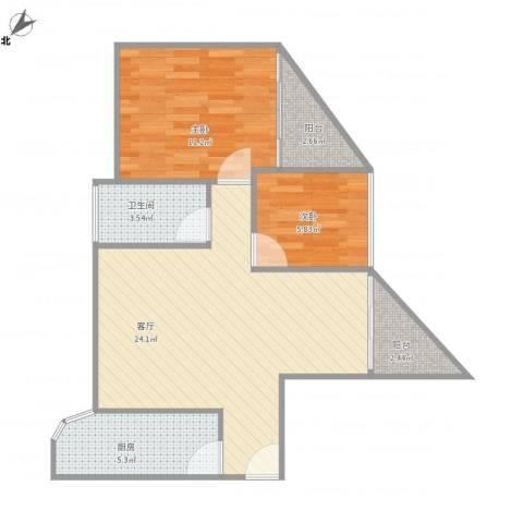 雍和花园1-B-1504房92平两房2室1厅1卫1厨75.00㎡户型图