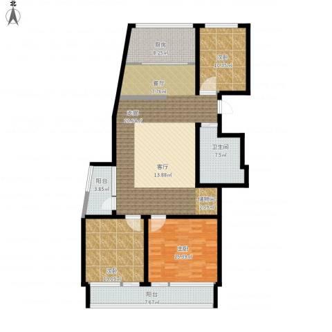 凯旋国际花园3室1厅1卫1厨158.00㎡户型图