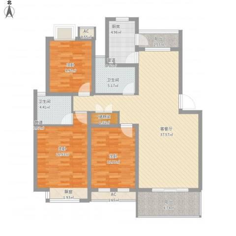 京东小区E区3室1厅2卫1厨150.00㎡户型图