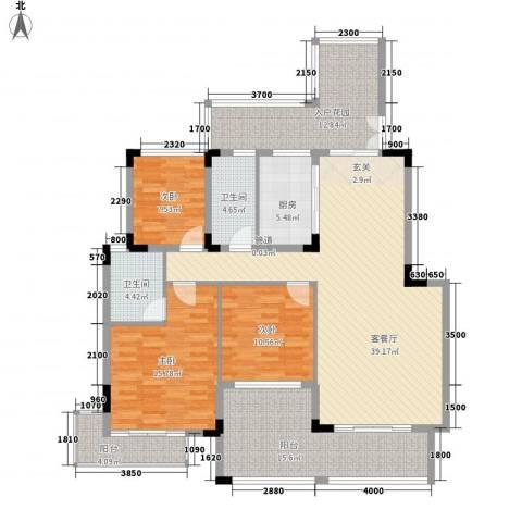 郦城水岸3室1厅2卫1厨133.00㎡户型图