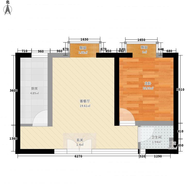 亚太嘉园5.30㎡3号楼户型1室1厅1卫1厨