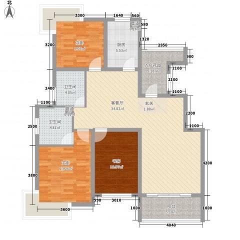 天一海尚阳光3室1厅2卫1厨122.00㎡户型图