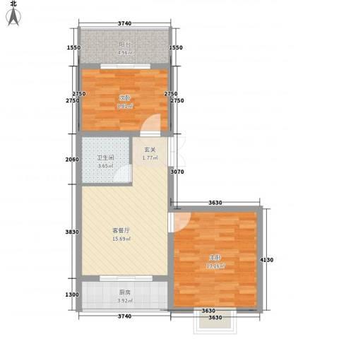 蔺高佳苑2室1厅1卫1厨73.00㎡户型图