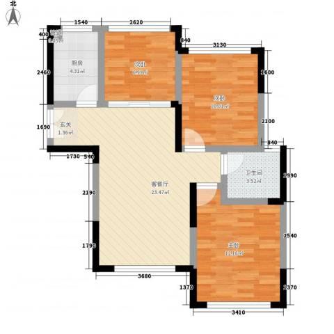 龙泽半岛逸湾3室1厅1卫1厨88.00㎡户型图