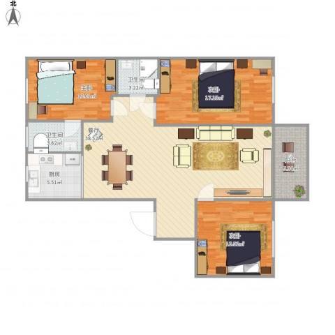 禾祥花园3室1厅2卫1厨125.00㎡户型图