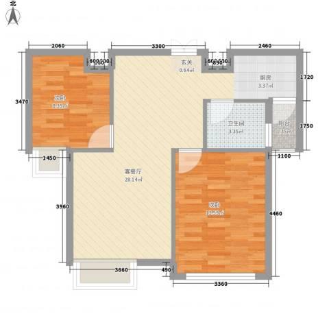 龙泽半岛逸湾2室1厅1卫0厨77.00㎡户型图