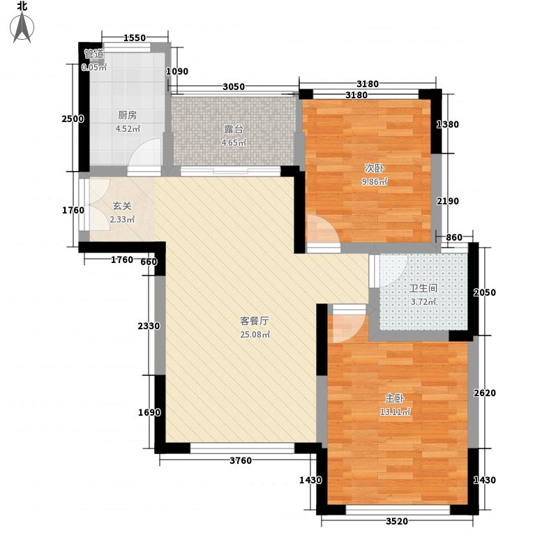 龙泽半岛逸湾88.00㎡A1户型2室2厅1卫