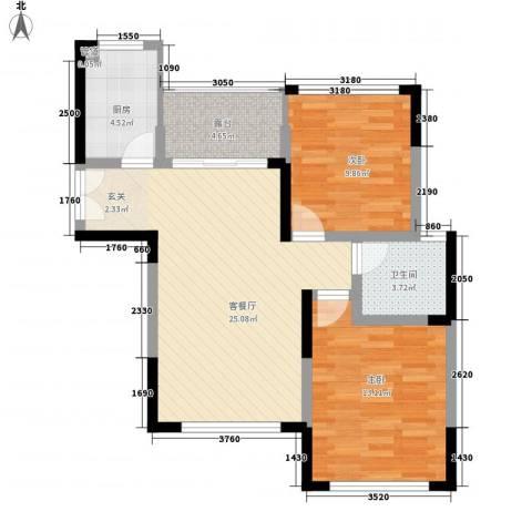 龙泽半岛逸湾2室1厅1卫1厨88.00㎡户型图