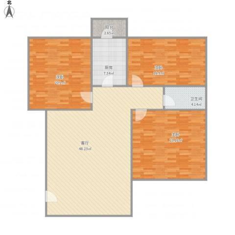 新宇楼3室1厅1卫1厨162.00㎡户型图