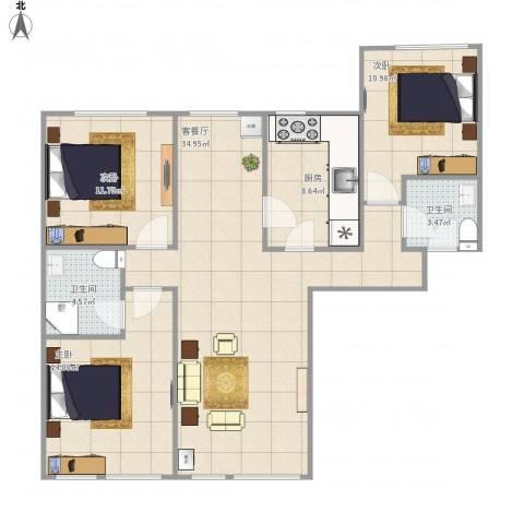 西华公馆3室1厅2卫1厨119.00㎡户型图