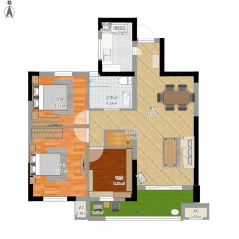 万泰时代城3室1厅1卫1厨99.00㎡户型图
