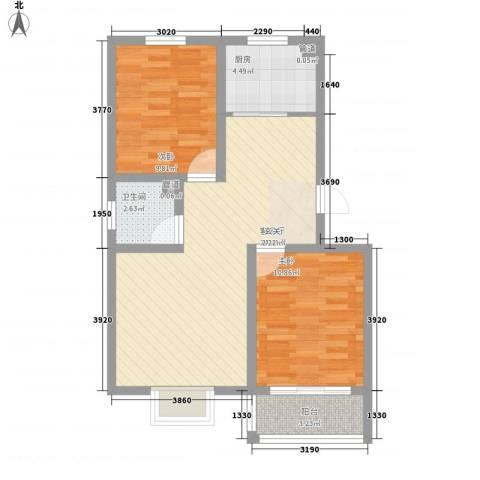 祥瑞雅居2室1厅1卫1厨81.00㎡户型图