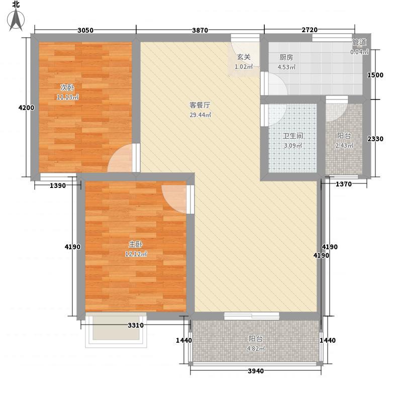 九龙・友谊花苑7.54㎡B户型2室2厅1卫1厨