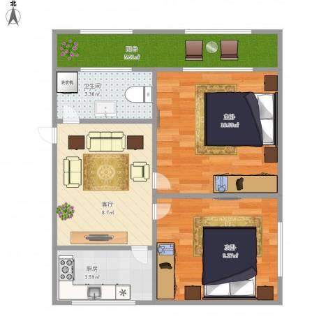 张家花园8-42室1厅1卫1厨57.00㎡户型图