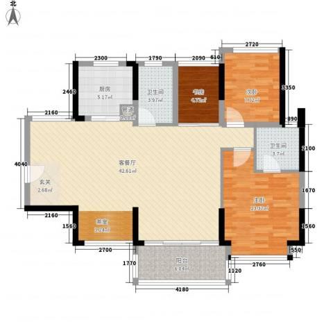美泰天韵3室1厅2卫1厨124.00㎡户型图
