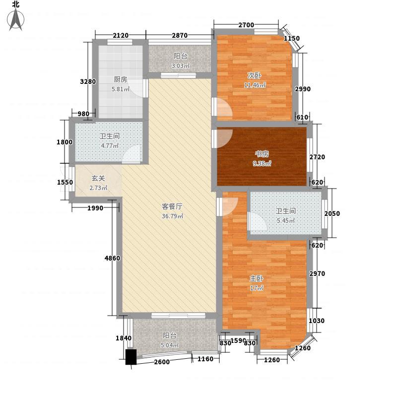 华府名都141.50㎡一期C户型3室2厅2卫1厨