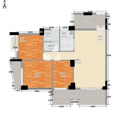 润福苑3室2厅1卫1厨114.00㎡户型图