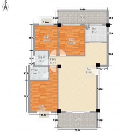 印象后街(鸿禧花园)3室1厅2卫1厨117.00㎡户型图