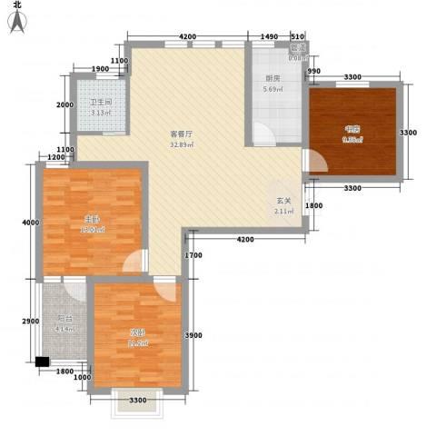 阳光花苑3室1厅1卫1厨114.00㎡户型图
