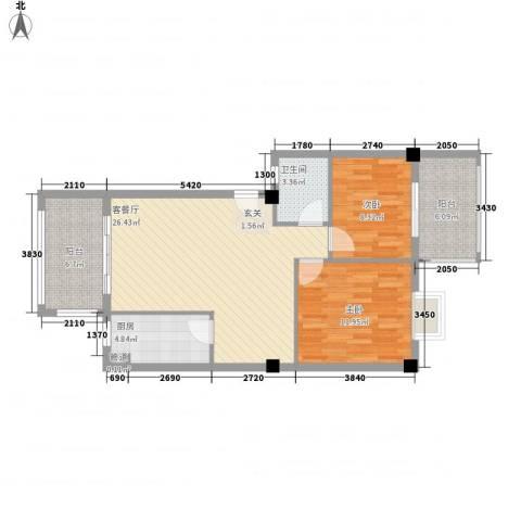 印象后街(鸿禧花园)2室1厅1卫1厨67.80㎡户型图
