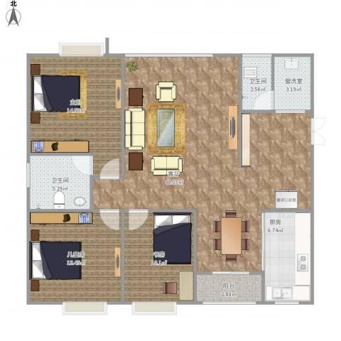 兴豪门2室2厅2卫1厨145.00㎡户型图