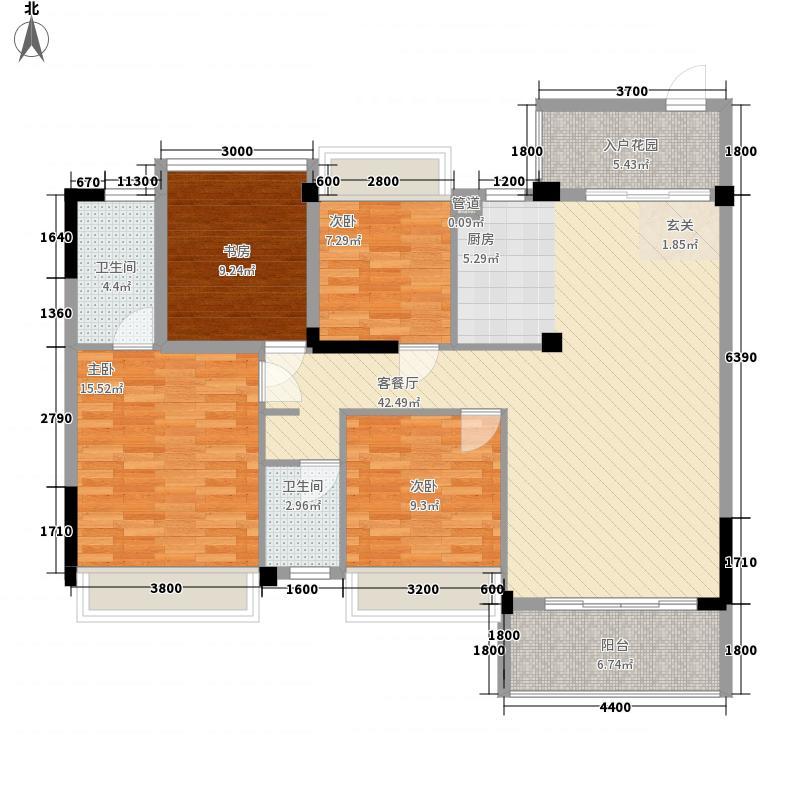金地华府11.00㎡1#C户型3室2厅2卫1厨