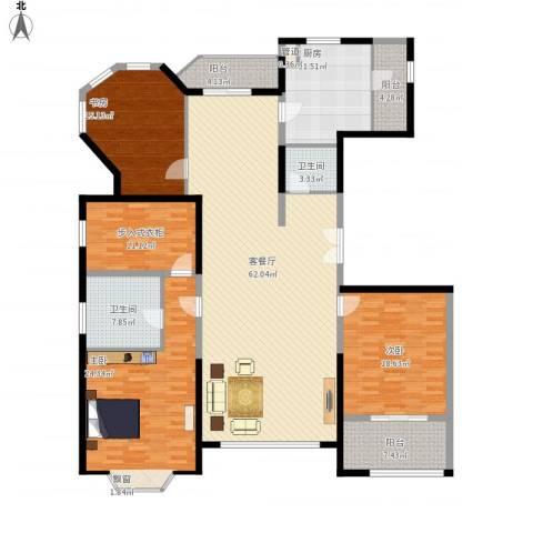 浦江公馆3室1厅2卫1厨236.00㎡户型图